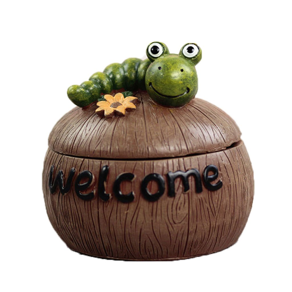 LCMJ Creative Cute Small Animal Ashtray With Cover Multi-function Home And Office Decoration To Send Boys Gifts (Color : Caterpillar)