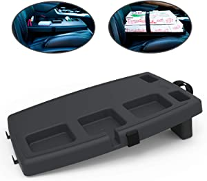 STUPID Car Anti-Slip Multi-Compartment Car Organizer & Food Tray with Cargo Straps & Hooks, Midnight Black