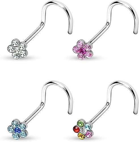 FLOWER Gem Stud Stainless STEEL Nose BONES Rings Screws BODY Piercings Jewelry