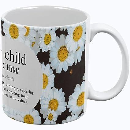 Old Glory Flor niño definición Margaritas All Over Taza de café, cerámica, Blanco,