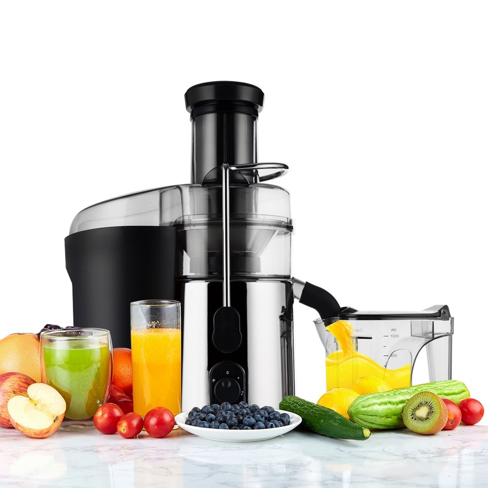 Juicer Juice Extractor Slow Masticating Juicer Machine, Cold Press Juicer Machine,3'' Wide Mouth Stainless Steel Centrifugal Juicer Fruit and Vegetables Extractor
