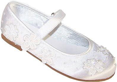 Girls White Satin Ballerina Shoes for