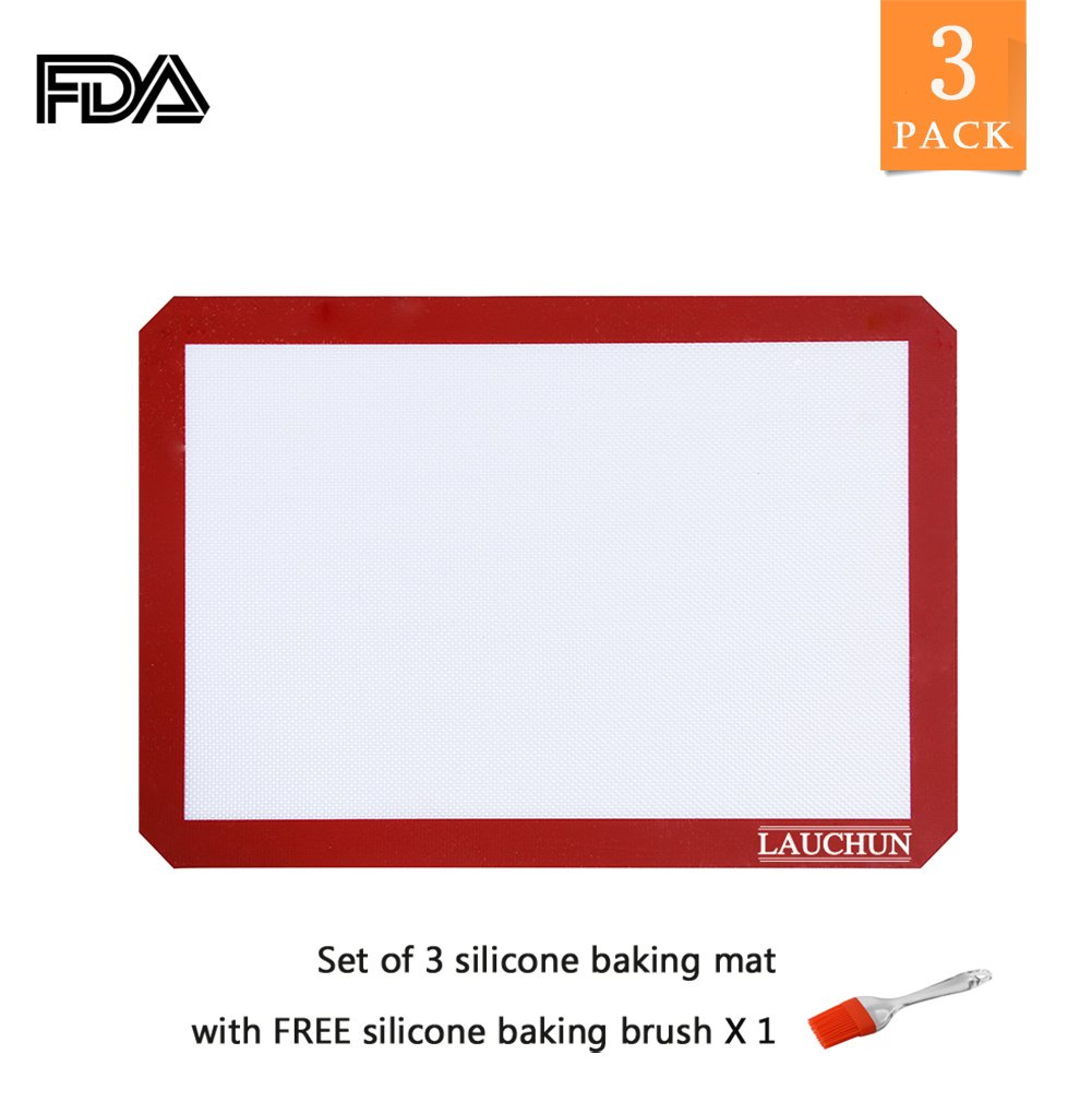 Silicone Baking Mat Cookie Sheet 2 Pack Non-Stick Professional Grade Sheet Liners (16.5 x 11 inches), 2-Pack, Long Life use, LAUCHUH