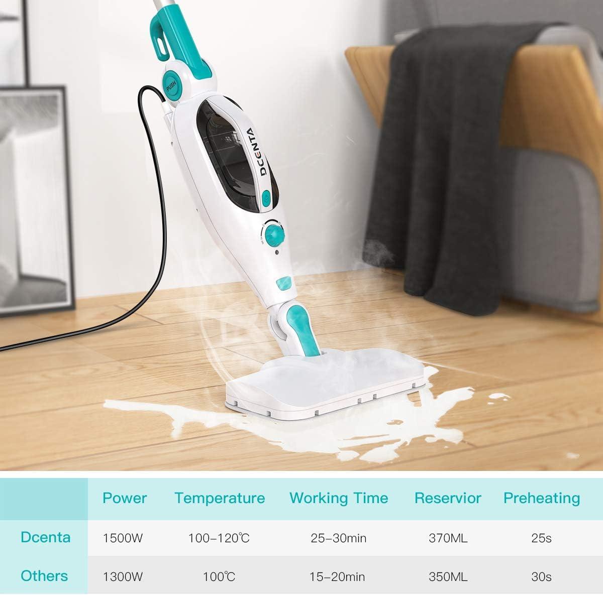 nettoyeur vapeur amovible pratique pour enlever 99,9/% des bact/éries Dcenta Balai /à vapeur multifonction 12 en 1 1500 W pour plancher stratifi/é tapis