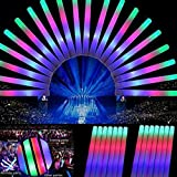 CANSTA 30 Pcs LED Colorful Foam Rave Party Cheering Glow Light Stick Flashing Foam Glow Stick With Batteries for Party Celebration Concert 484cm(18.91.6 inch)