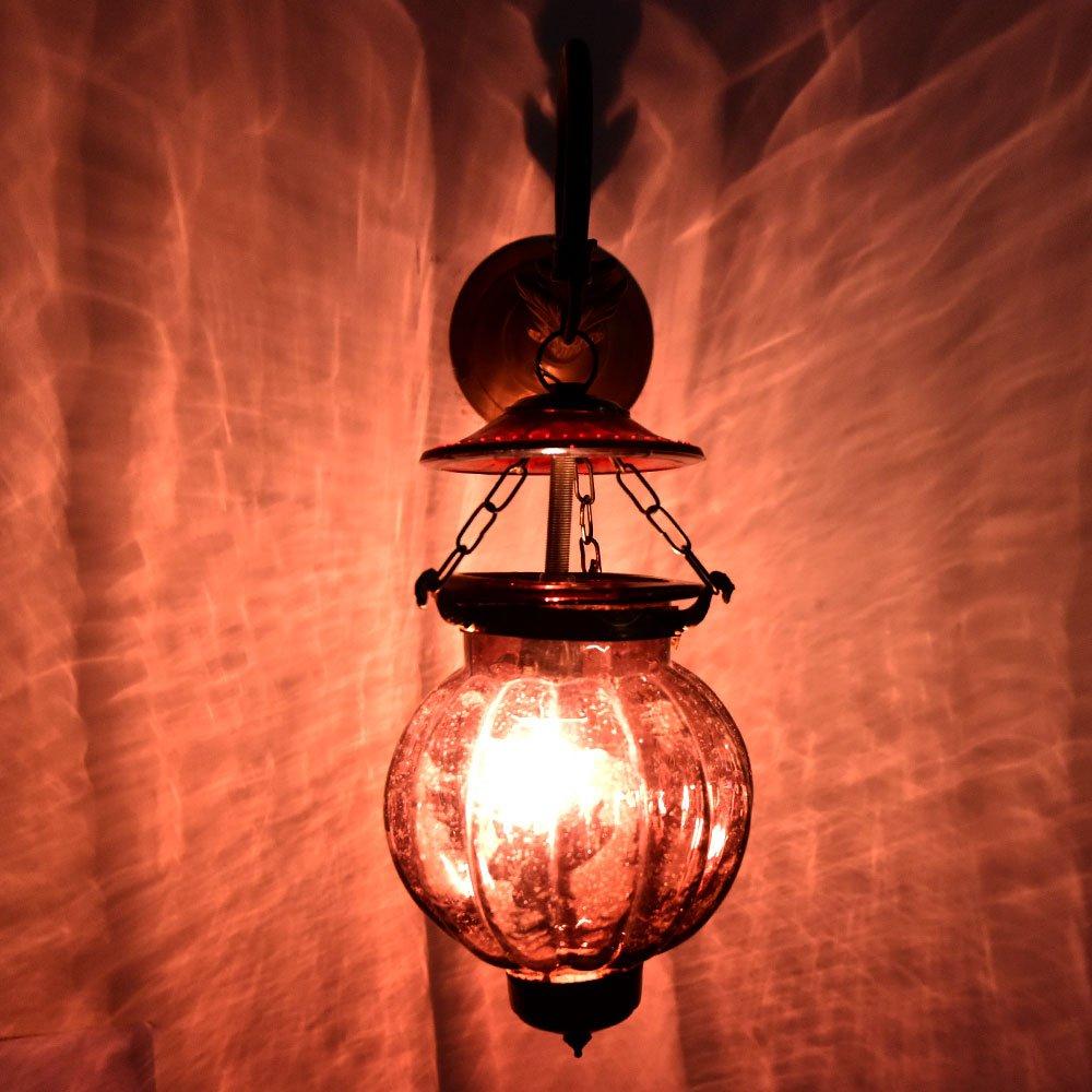Handmade Vintage Melon Shaped Glass Plum Wall Lighting Lamp Sconces Hanging Bronze Bracket