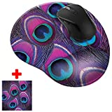 FINCIBO Purple Peacock Feather Comfortable Wrist Support Mouse Pad for Home and Office with Matching Microfiber Cleaning Cloth for Computer and Mobile Screens