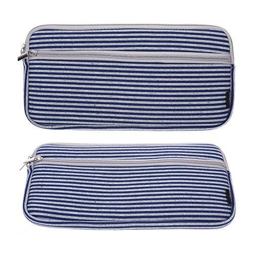 Case Star Canvas Case Dark Blue Classic Stripe with Anti Shock EVA Foam Shock Resistant Padding Inside for Apple Wireless Keyboard A1314 / Apple Magic Keyboard A1644 -