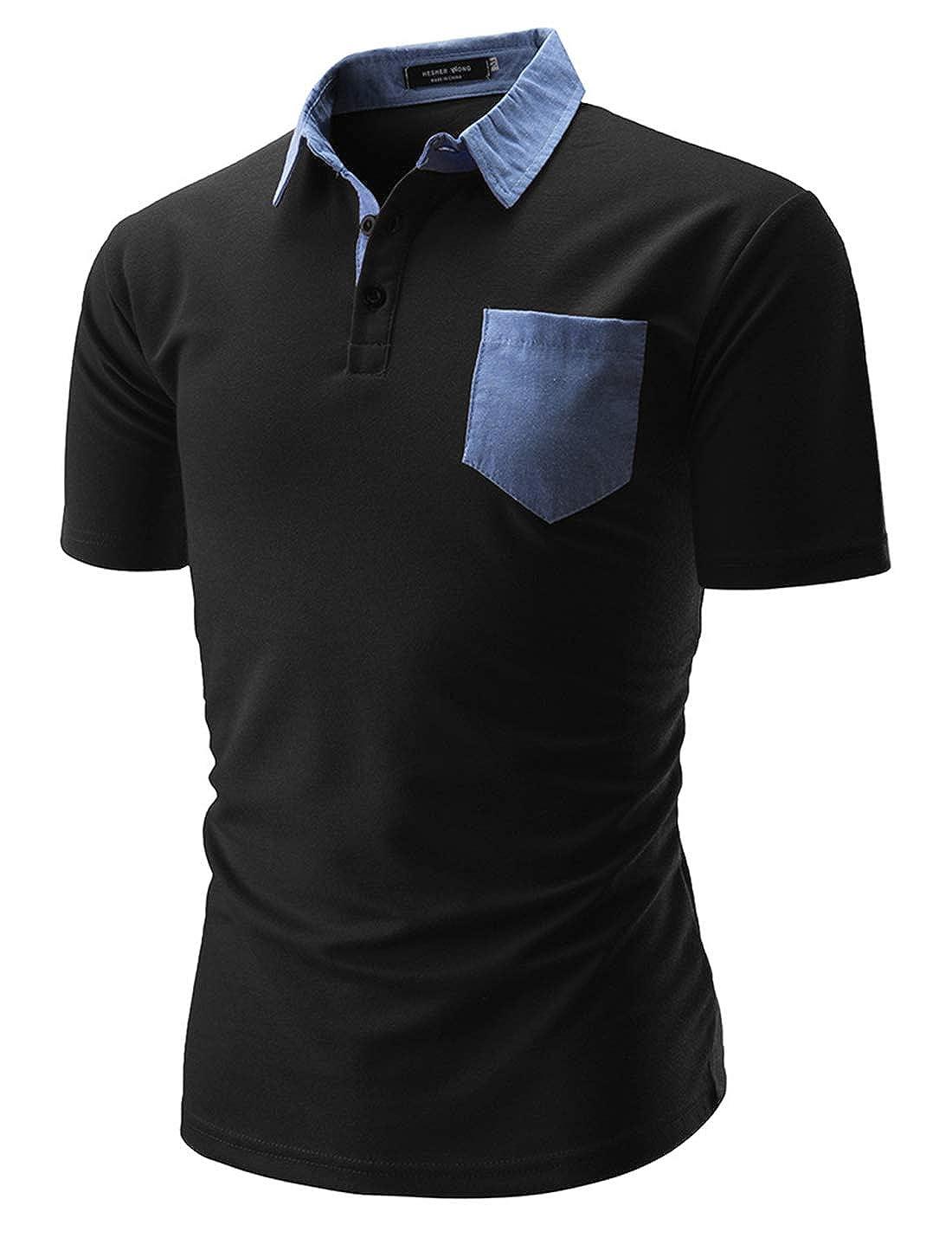 Springrain Mens Classic Slim Fit Short Sleeve Polo Shirt