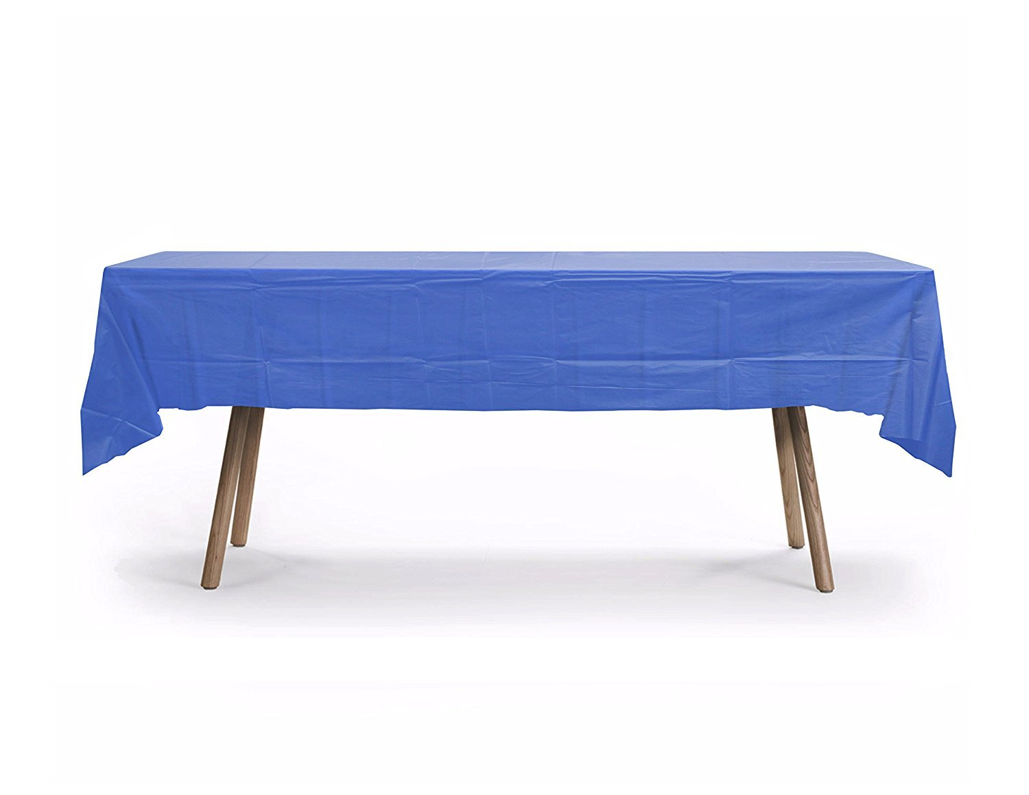 GiftExpressions 10-Pack  Premium 54 Inch. x 108 Inch. Disposal Rectangle Plastic Table Cover- Outdoor, Indoor Party, Picnic, Events, School Ceremony (Royal Blue)