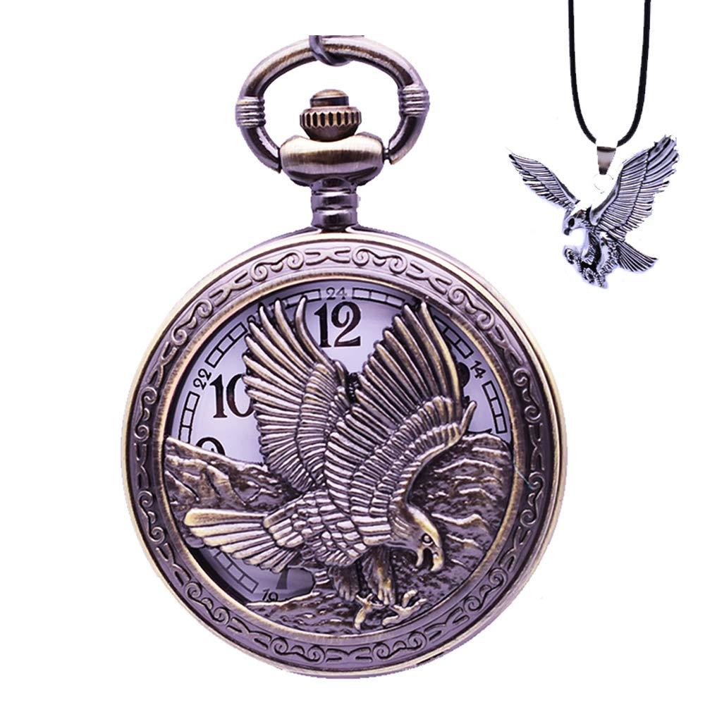 Udaney Eagle Pocket Watch with Chain Vintage Quartz Arabic Numerals Half Hunter 2019 Fashion Gift by Udaney (Image #1)