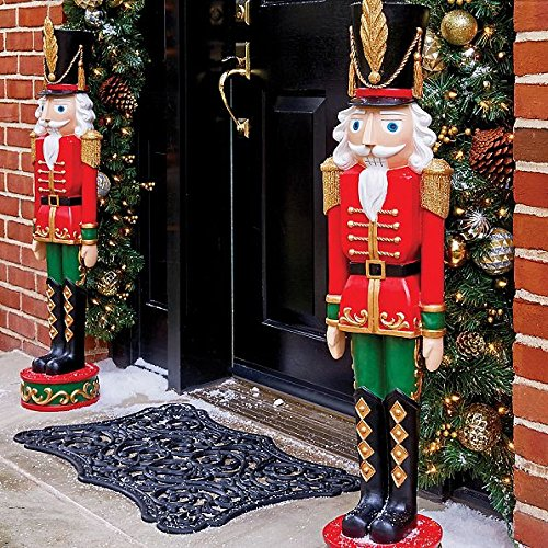 SET OF 2 3 Foot Outdoor Life Like Nutcracker Toy Soldier Statue Sculpture Christmas Decoration by Improvements