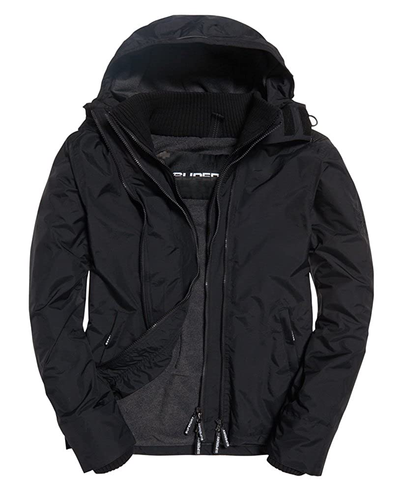 Superdry Pop Zip Hood Arctic Wndcheater Nb Black/Dark Grey Marl