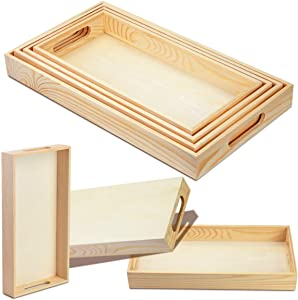 BILLIOTEAM 4Pack Unfinished Wood Nesting Trays with Handles for Weddings, Home Decor, Organizing, DIY Décor, and Montessori Activity,6 by 12-1/5 Inch to 8-1/3 by 14-1/2 Inch