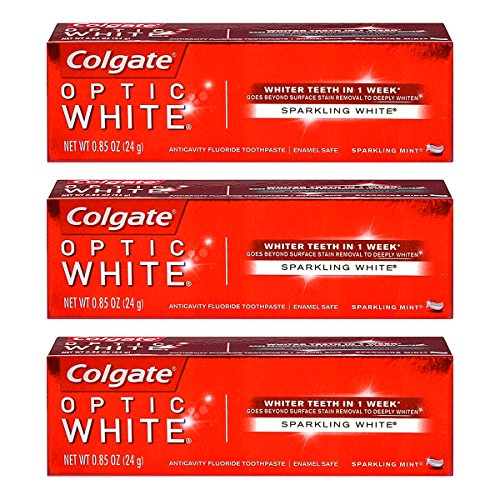 - Colgate Optic White Toothpaste Sparkling Mint 0.85 Oz Travel Size (Pack of 3)