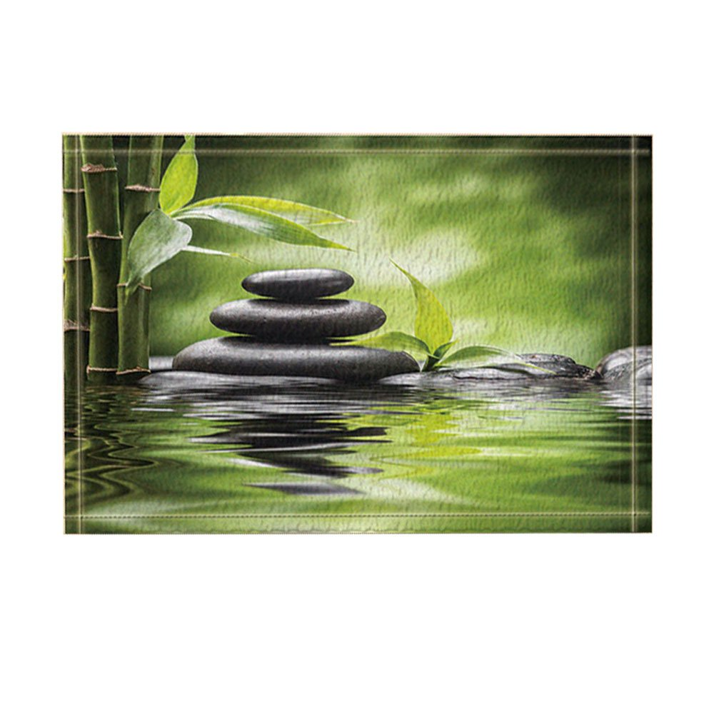 KOTOM Spa Decor, Zen Garden Theme Basalt Stones and Bamboo in Water Bath Rugs, Non-Slip Doormat Floor Entryways Indoor Front Door Mat, Kids Bath Mat, 15.7x23.6in, Bathroom Accessories