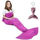 AmyHomie Mermaid Tail Blanket, Mermaid Blanket Adult Mermaid Tail Blanket, Crotchet Kids Mermaid Tail Blanket for Girls (ScalePink, Adults)