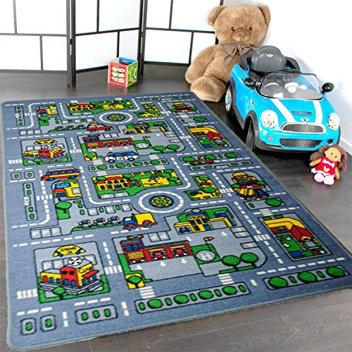 Kids Rug City Map Fun Play Rug 3' X 5' Children Area Rug - Non Skid Gel Backing (39