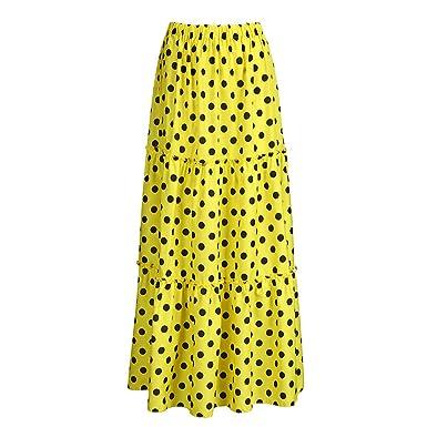 Hokoaidel Falda para Mujer, Moda Mujer Cintura Alta Lunares Falda ...