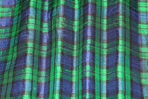 Navy & Forest Green Plaids on, 100% Silk Dupioni, By The Yard, 44
