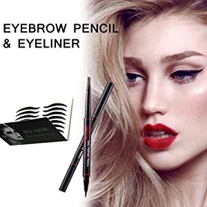 2 in 1 eyebrow pencil + eyeliner,with 80 pairs eyeliner stickers, double-headed smudge-proof waterproof KCKC color eyebrow pencil & eyeliner combination(Black color)
