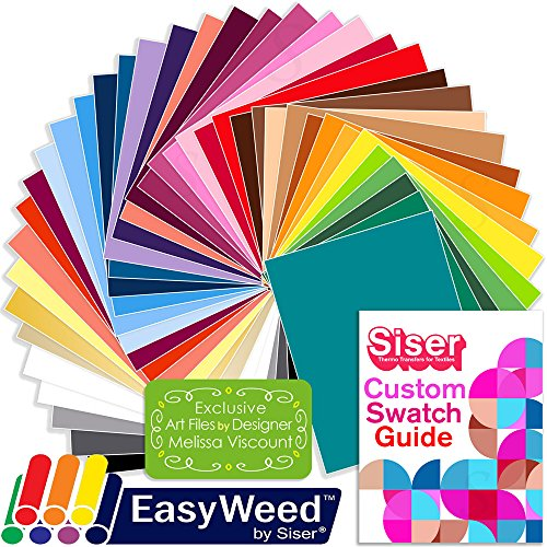 SISER EasyWeed Heat Transfer Shirt Vinyl EVERY Easyweed Color Bundle, 12 Inch x 15 Inch with Custom Siser Swatch Book by Swing Design by Siser