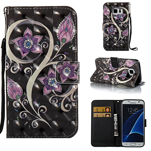 Galaxy S7 Case,Durable Kickstand Wallet Case with Inner Silicone Bumper Cover Full Protective Flip Folio Shell Cover with Credit Card Holder for Samsung Galaxy S7-Purple
