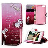 iPod Touch 5 Case,iPod Touch 6 Case -MOLLYCOOCLE®Stand Wallet Premium PU Leather Bling Diamond Magnetic Love Dandelion Hand Wrist Strap TPU Bumper Skin Cover for iPod Touch 5 5th / 6 6th Generation