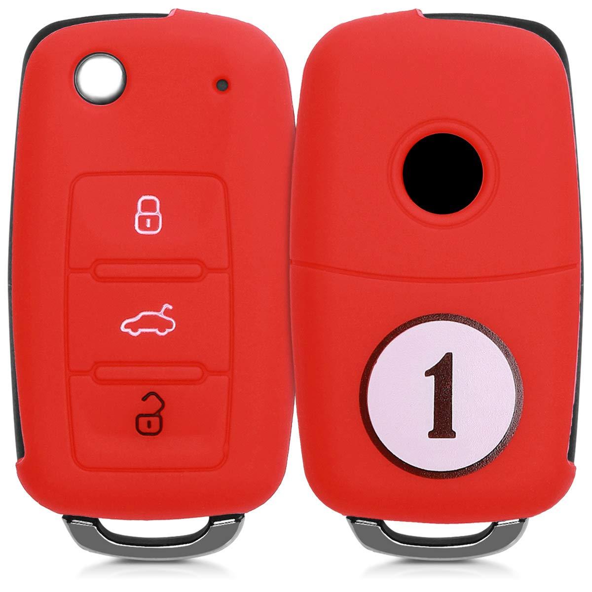 Suave Silicona Rosa Fucsia//Rojo - Case Mando de Auto de kwmobile Funda de Silicona para Llave de 3 Botones para Coche VW Skoda Seat Carcasa Protectora