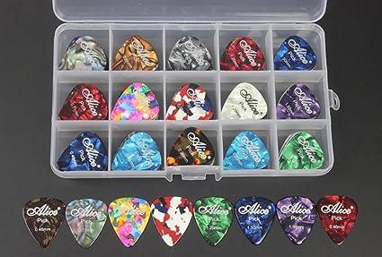 100pcs Celluloid Acoustic Electric Guitar Picks Pick Plectrum Various  Colors 6 Gauges 0.46 0.71 0.81 0.96
