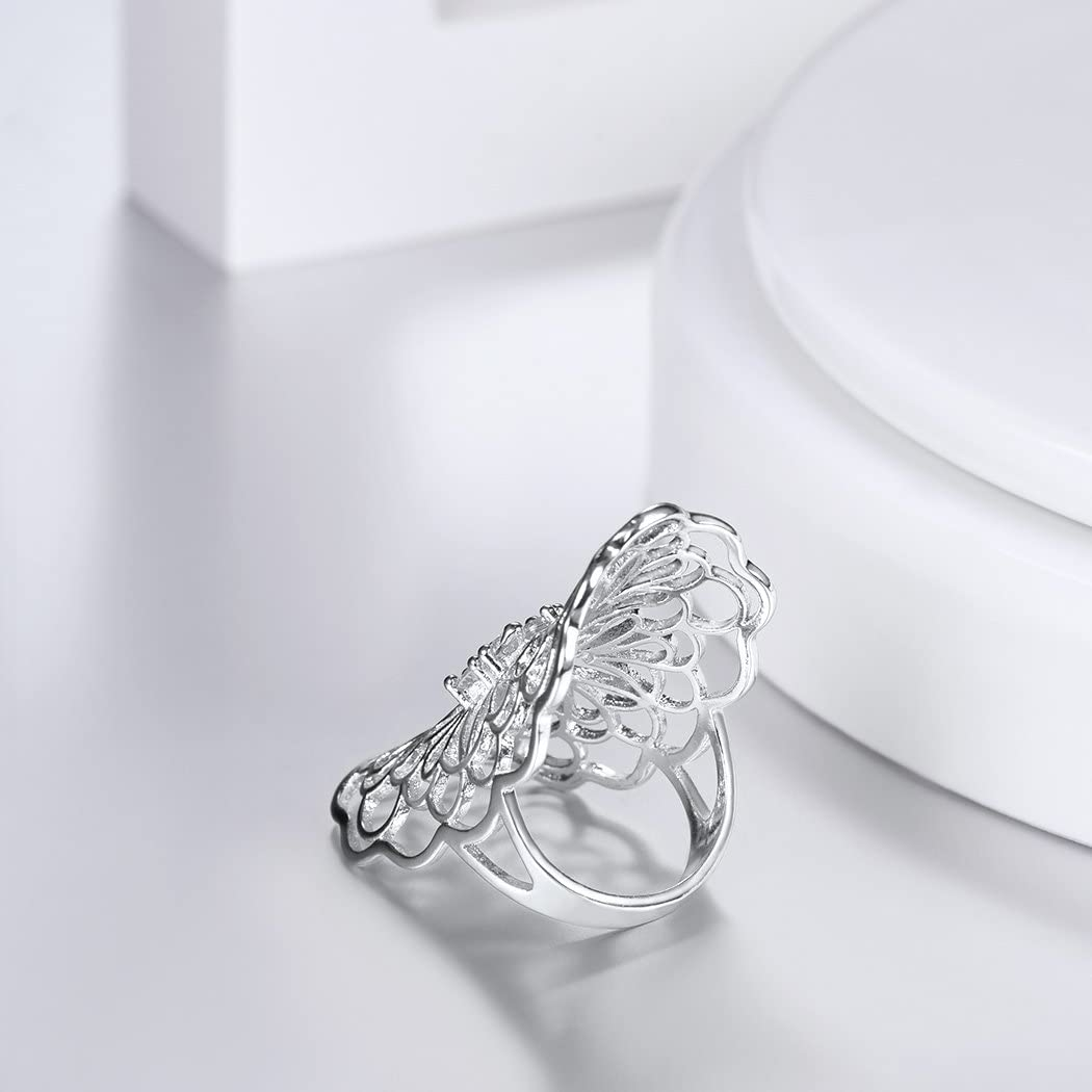 18K Gold Plated//Platinum Plated Unisex Jewelry with Cubic Zirconia Cross //Hollow Flower//Butterfly// Criss Cross// Olive Shape// Stripes//Feather Ring Statement //Oversize//Wide//Chunk Ring for Women /& Men