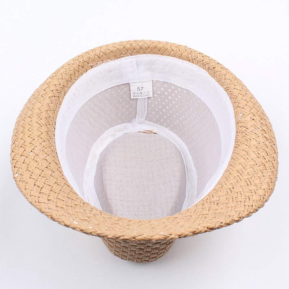 Summer Beach Hat Straw Sun Hats Jazz Cap Panama Caps Derby Bowler for Men Women Black
