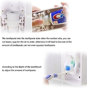 Dispensador de Pasta de Dientes Automático y Portacepillos de Dientes – Práctico Set de Baño Familiar con Soporte de Cepillos de Dientes y Dosificador de Pasta Dental - Ideal Para Niños: Amazon.es: