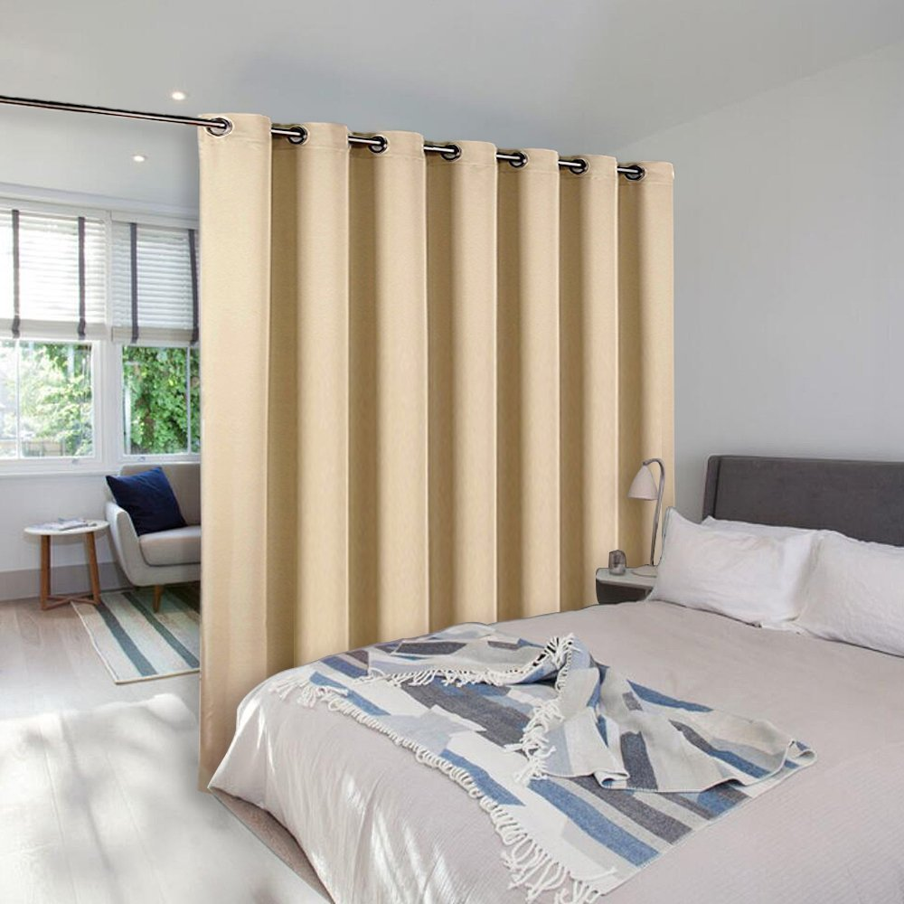 NICETOWN Extra Wide Patio Door Curtain - Energy Smart & Noise Reducing Grommet Thermal Insulated Wide Width Drapes, Sliding Door Curtain for Guestroom(Cream Beige, W100 x L84)