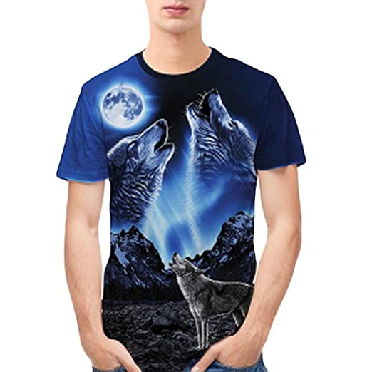 6f3d31730f Mens T Shirts, Fashion Wolf 3D Printed Slim Short-Sleeved Casual Tee Tops  Graphic