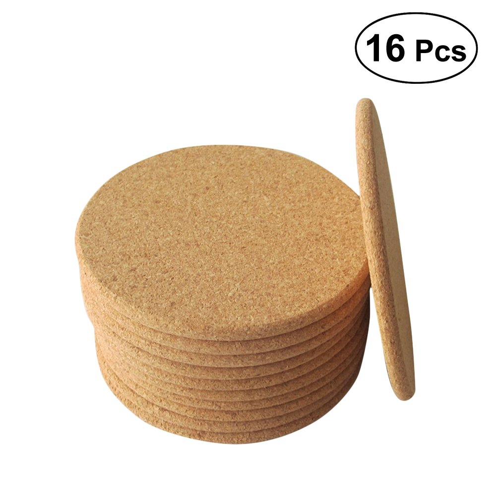 16Pcs Round Bar Cup Pads Non-slip Waterproof Cork for Drinks Water Absorption and Heat Insulation Coasters