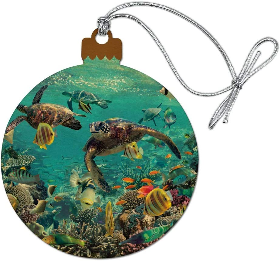 GRAPHICS & MORE Ocean Coral Reef Sea Turtles Diving Wood Christmas Tree Holiday Ornament