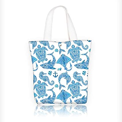 69de5ab9277d Amazon.com: Canvas Beach Bags Collection Pattern with Turtle Dolphin ...