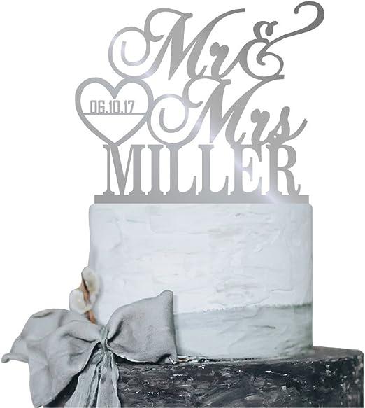 I Do Me Too Acrylic Silver Mirror Wedding Cake Topper