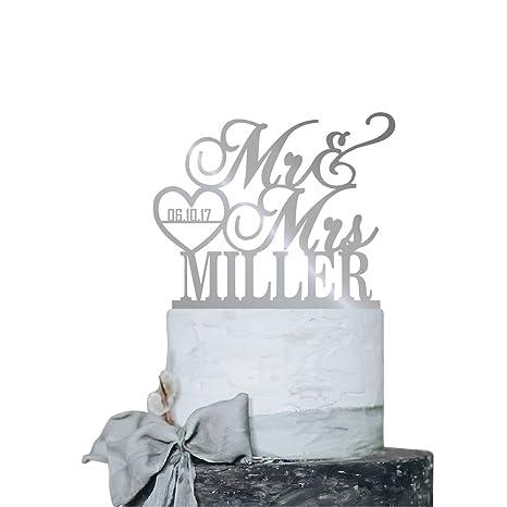 c36561b77d3b Amazon.com  P Lab Personalized Cake Topper Mr. Mrs. Last Name Custom ...