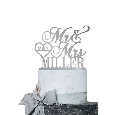 Amazon p lab personalized cake topper mr mrs last name p lab personalized cake topper mr mrs last name custom date 2 wedding cake junglespirit Choice Image