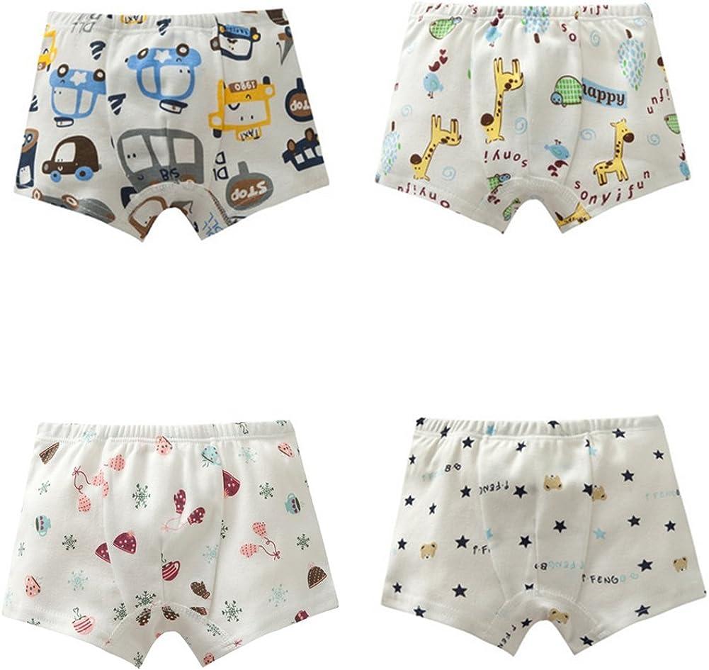 JIEYA 4-Pack Baby Boys Girls Toddlers Cotton Underwear Cartoon Printed Shorts Boyshorts