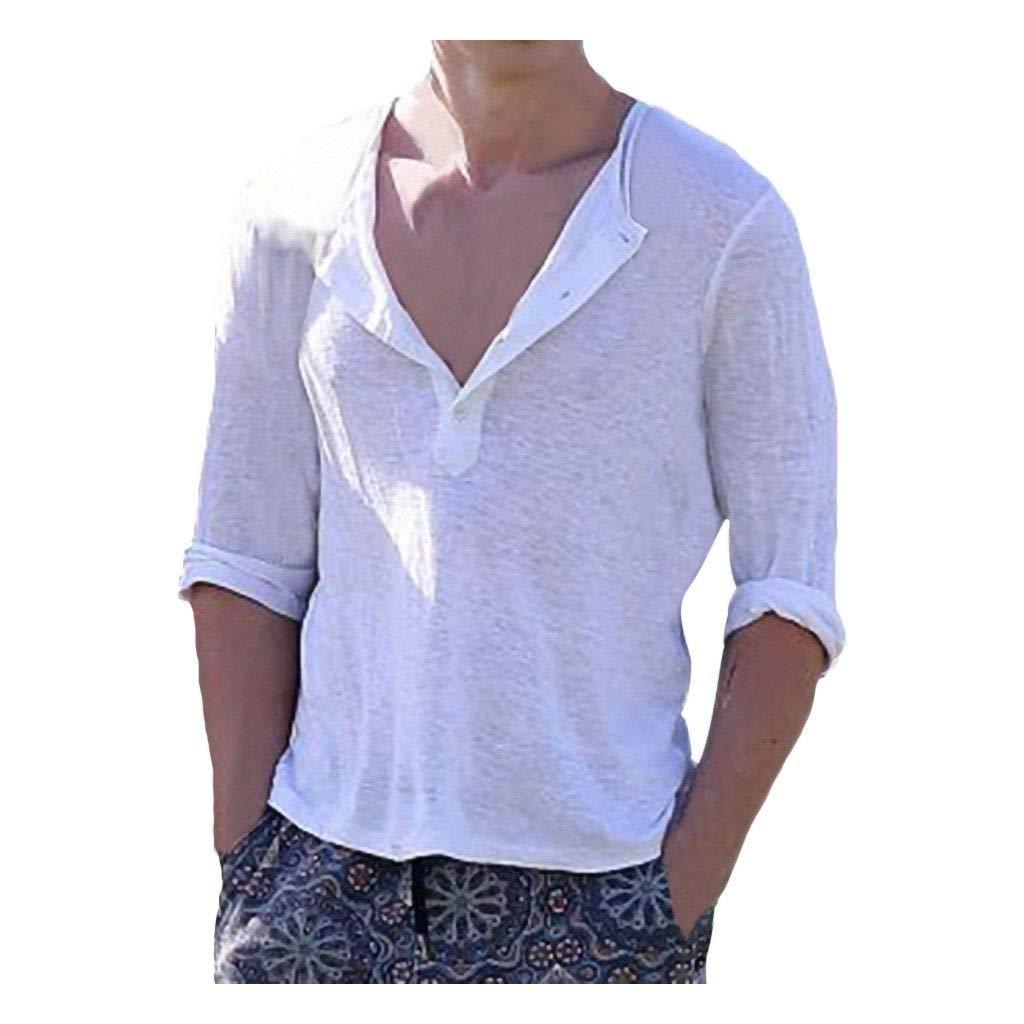 Emmanuel /& Partner Summer 2019 Sleeves Polyester Fashion Button Casual Linen Shirt Men Short Button Casual