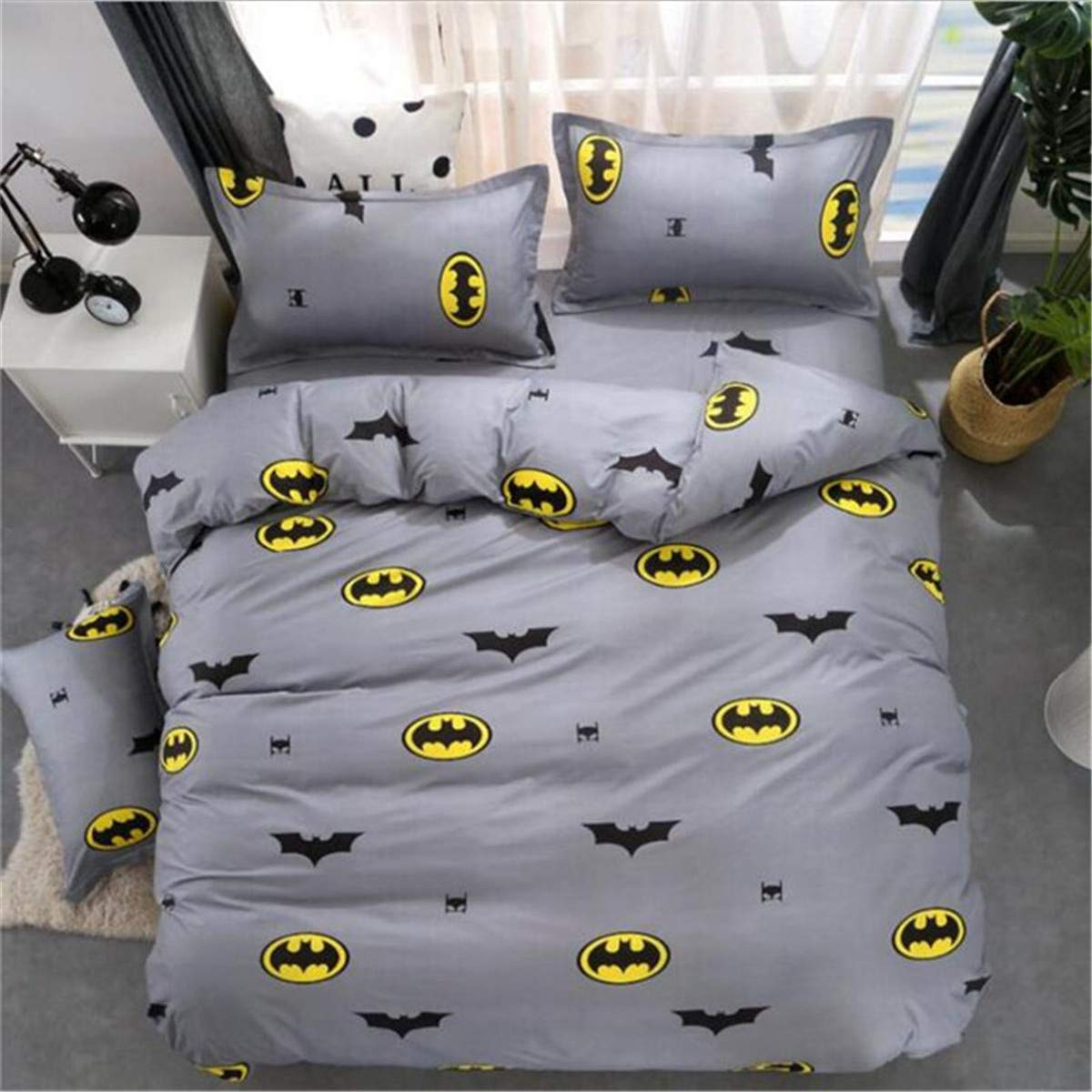 ZI TENG New Cartoon Batman Bedding Set Student Teenagers Love Duvet Cover 3PC100% Polyester Bed Set1Duvet Cover,2Pillowcases,Twin Full Queen Size