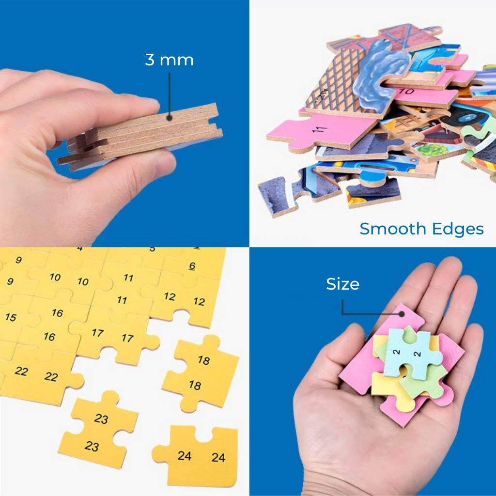 4 in 1 Wooden Jigsaw Puzzles for Kids Construction Vehicles Preschool Educational Game Learning Toys Set Puzzles for Boys /& Girls
