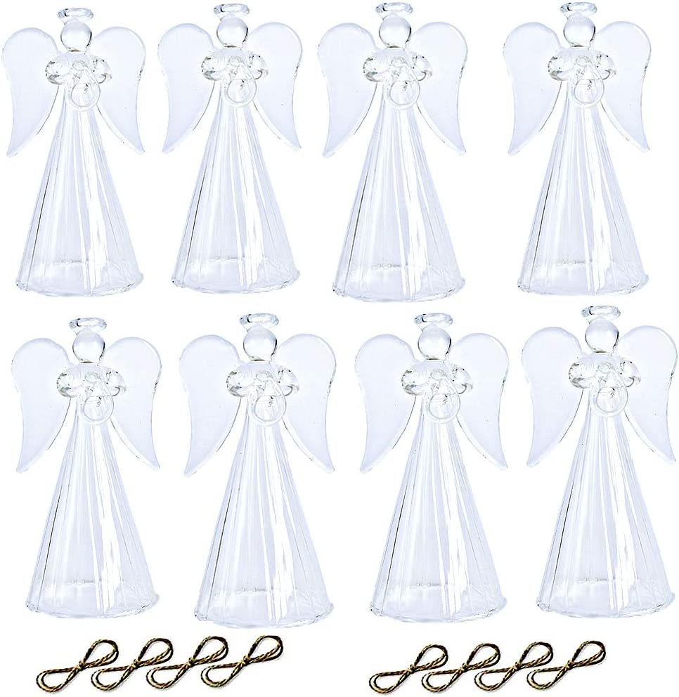 Christmas Religious Decor clear, 1# LANLONG Spun Glass Angel Ornaments with Star//Heart//Praying Hands Set of 8