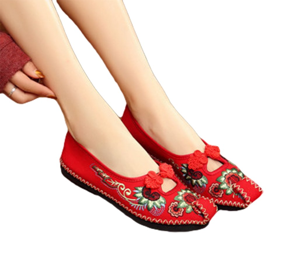 AvaCostume Womens Embroidery Twine Weave Frog Adron Comfortable Flats Shoes, Red 38