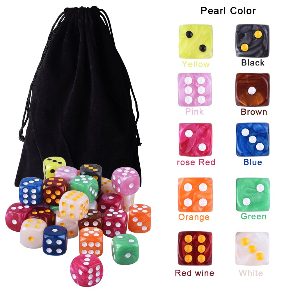 AUSTOR 100 Pieces 6-Sided Game Dice Set Bunco or Teaching Math Farkle Free Pouch Yahtzee 10 Pearl Colors Rounded Edges Dices for Tenzi