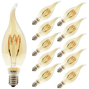 Vintage bombilla LED E14 de flexible filamento, – Juego de 10 bombillas llama, 3