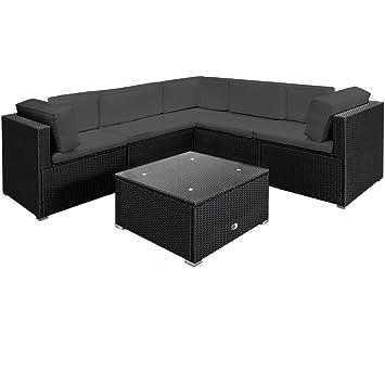 Amazon.de: Deuba® Poly Rattan XXL Lounge Set Schwarz | 15cm dicke ...